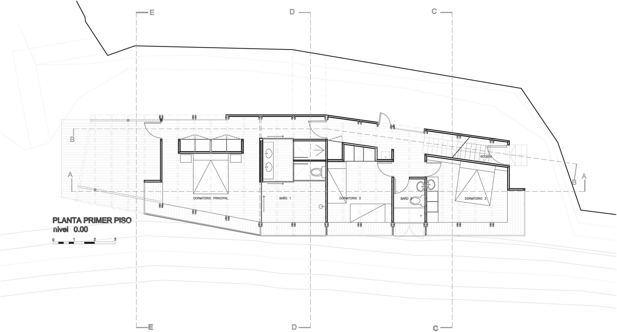 First Floor Plan, Beachfront Home in Chile