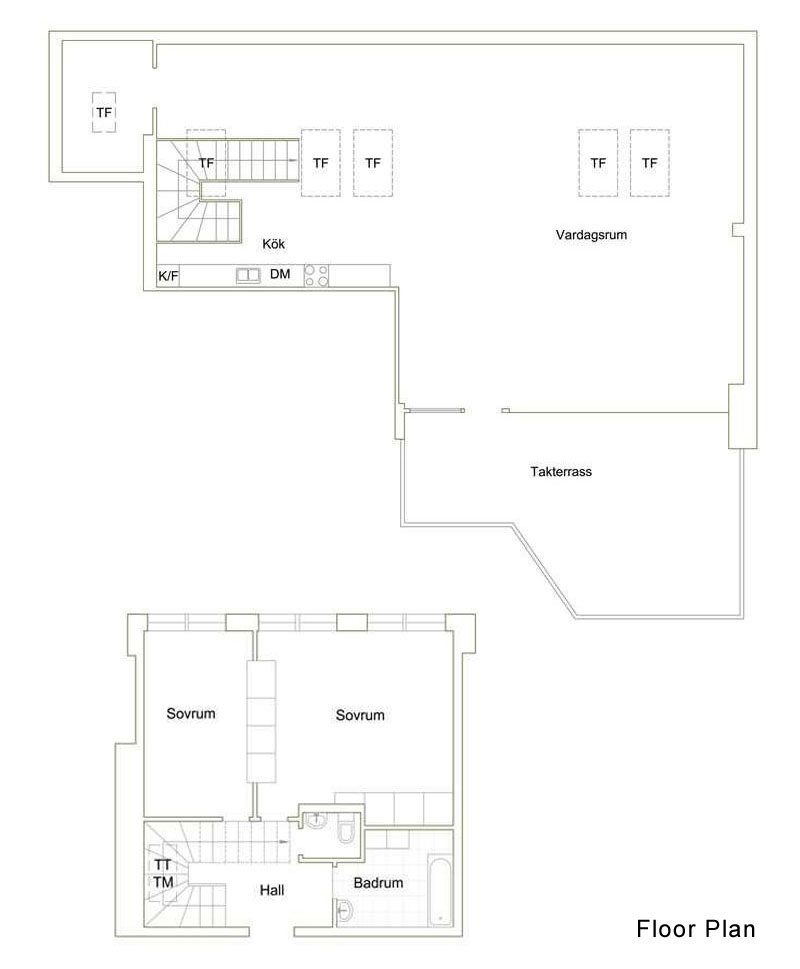 Floor Plan, Contemporary Loft Apartment in Stockholm