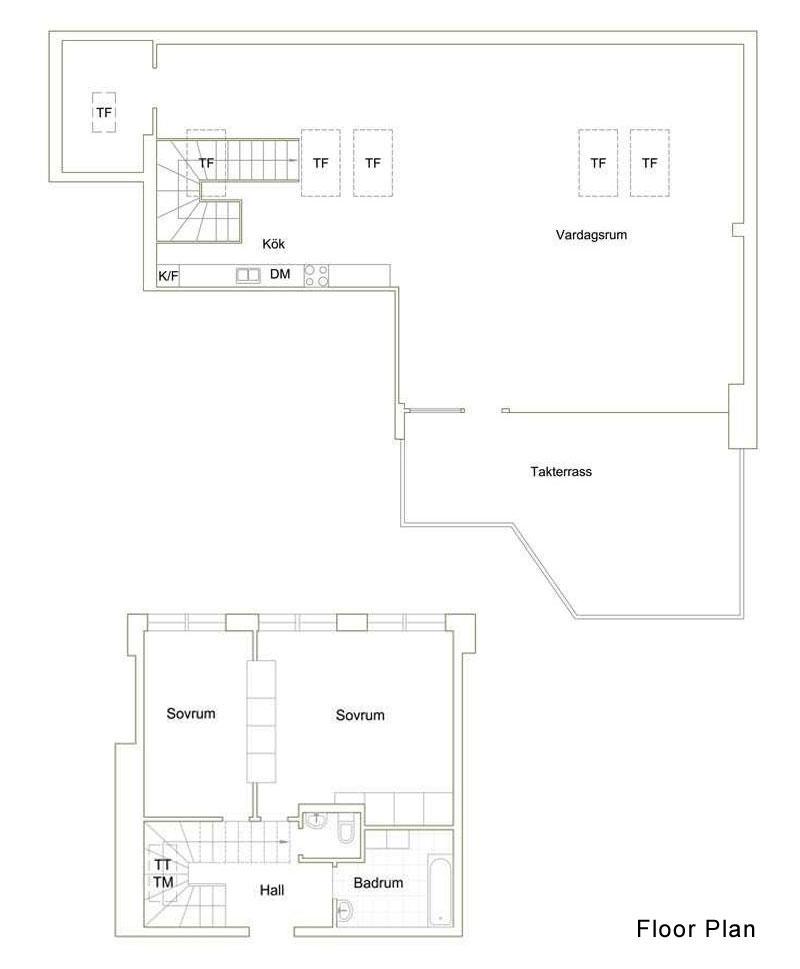 Floor Plan, Contemporary Loft Apartment in Stockholm