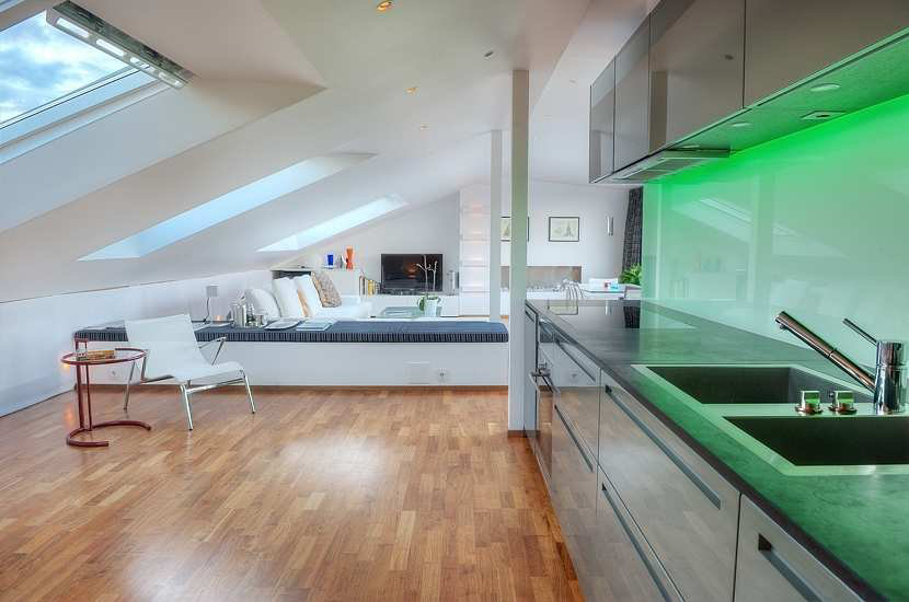 Kitchen, Green Lighting, Contemporary Loft Apartment in Stockholm