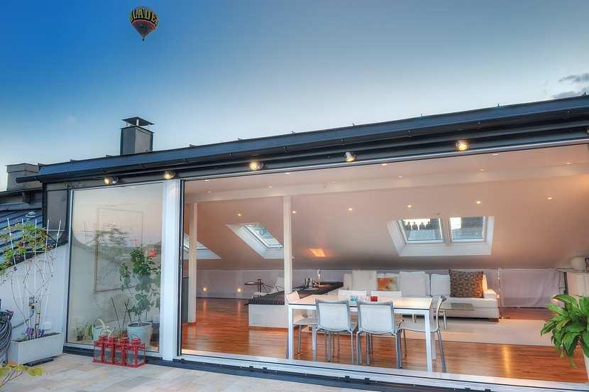Patio Doors, Terrace, Living Space, Contemporary Loft Apartment in Stockholm