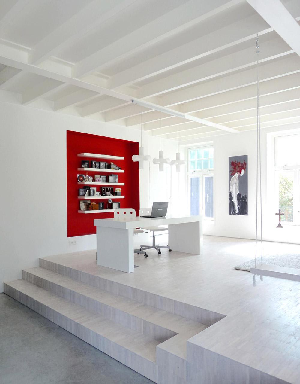 Bright White Home Office, Unique Loft Conversion in The Netherlands