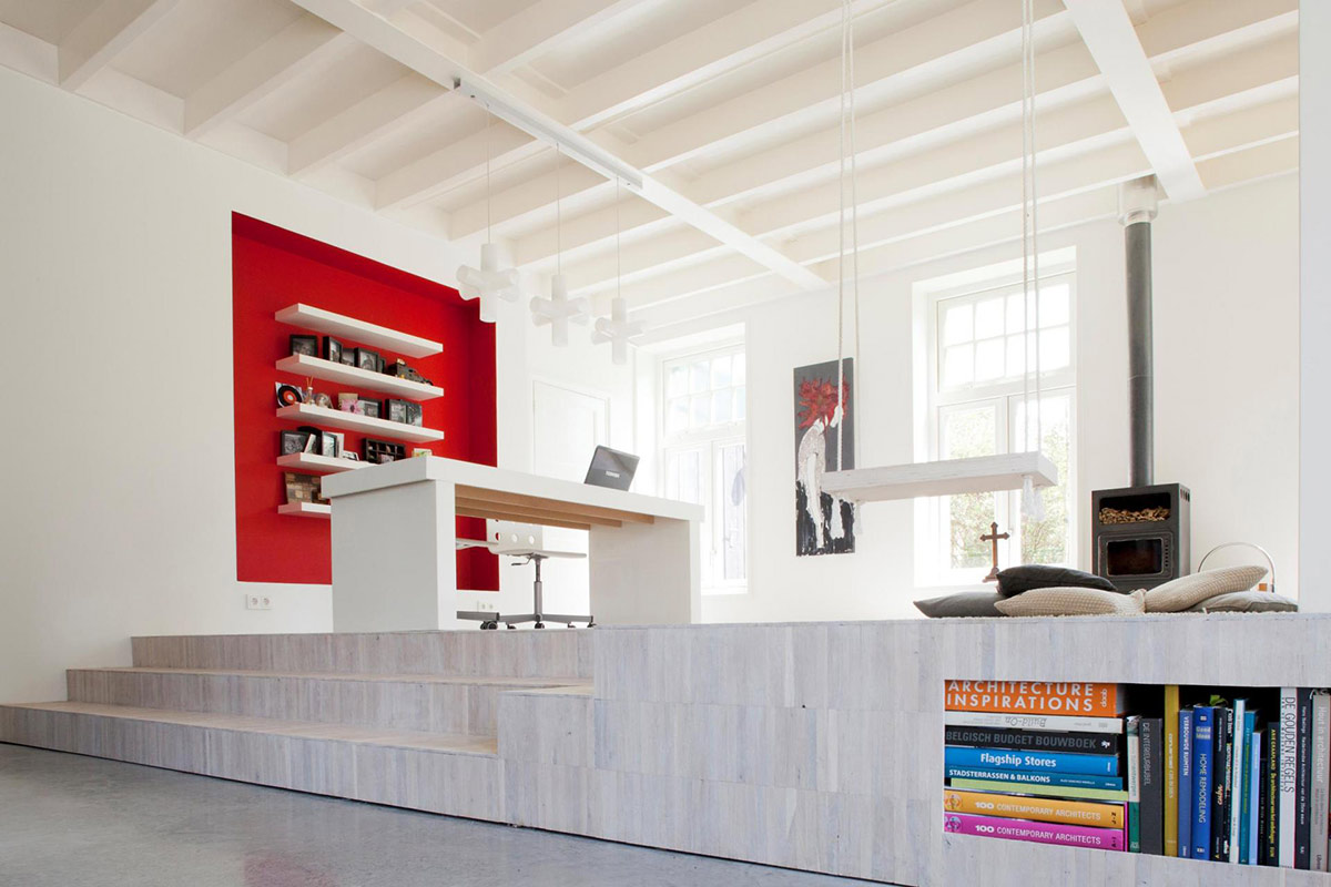 Fireplace, Swing, White Office Desk, Unique Loft Conversion in The Netherlands