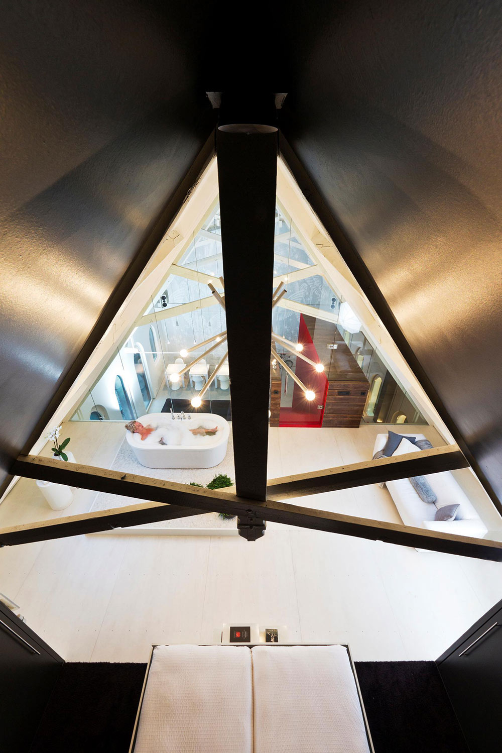Glass Wall, Mezzanine Bathroom, Unique Loft Conversion in The Netherlands