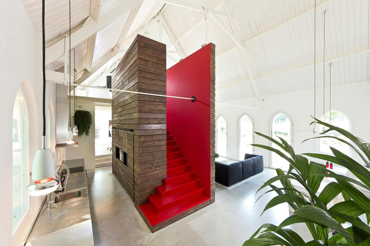 Kitchen, Central Red Stairs, Unique Loft Conversion in The Netherlands