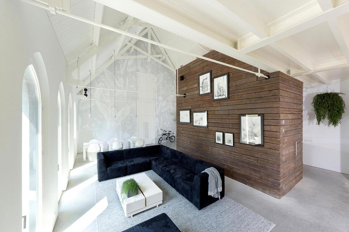 Living Space, Dark Blue Sofas, Unique Loft Conversion in The Netherlands