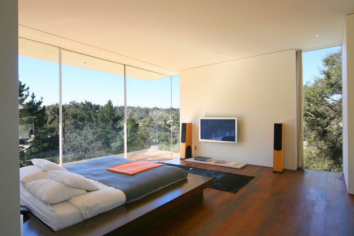 Bedroom, Glass Walls, Modern Residence in Beverly Hills
