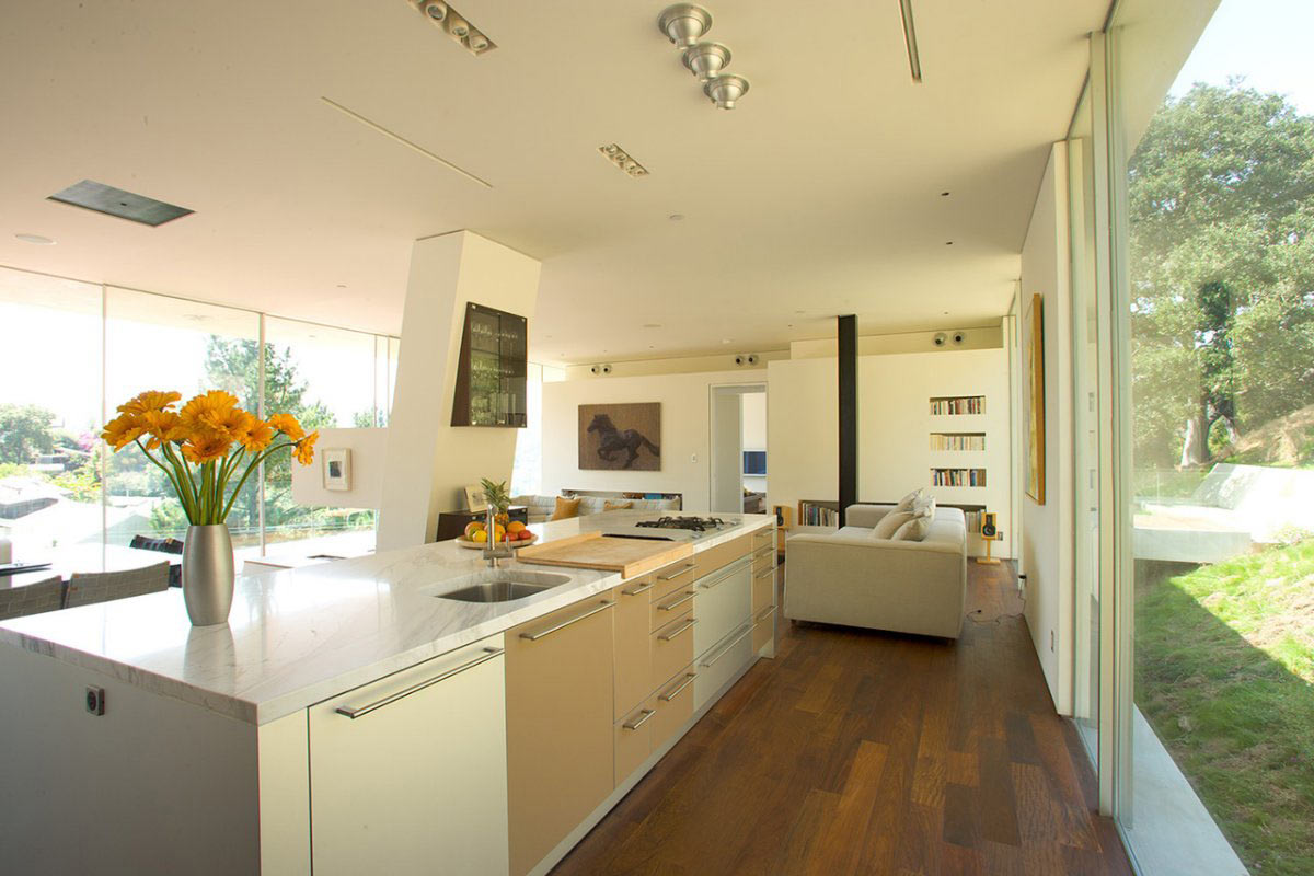 Kitchen, Open Plan Living Space, Modern Residence in Beverly Hills