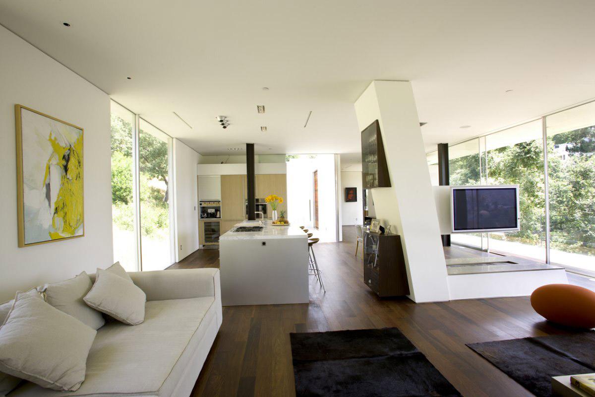 Living Room, Open Plan Living, Modern Residence in Beverly Hills