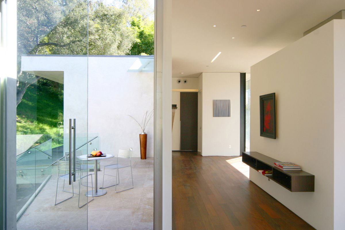 Patio, Glass Door, Hall, Modern Residence in Beverly Hills