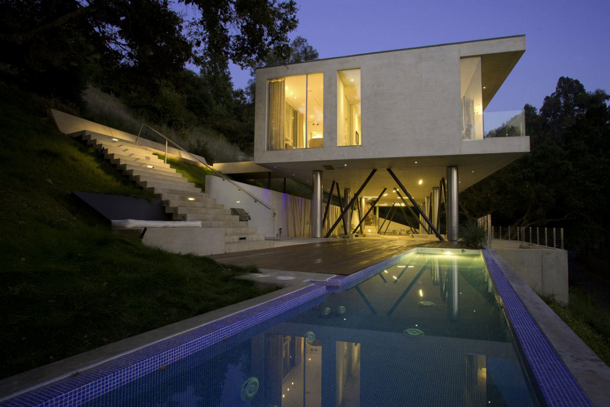 Pool, Terrace, Lighting, Modern Residence in Beverly Hills