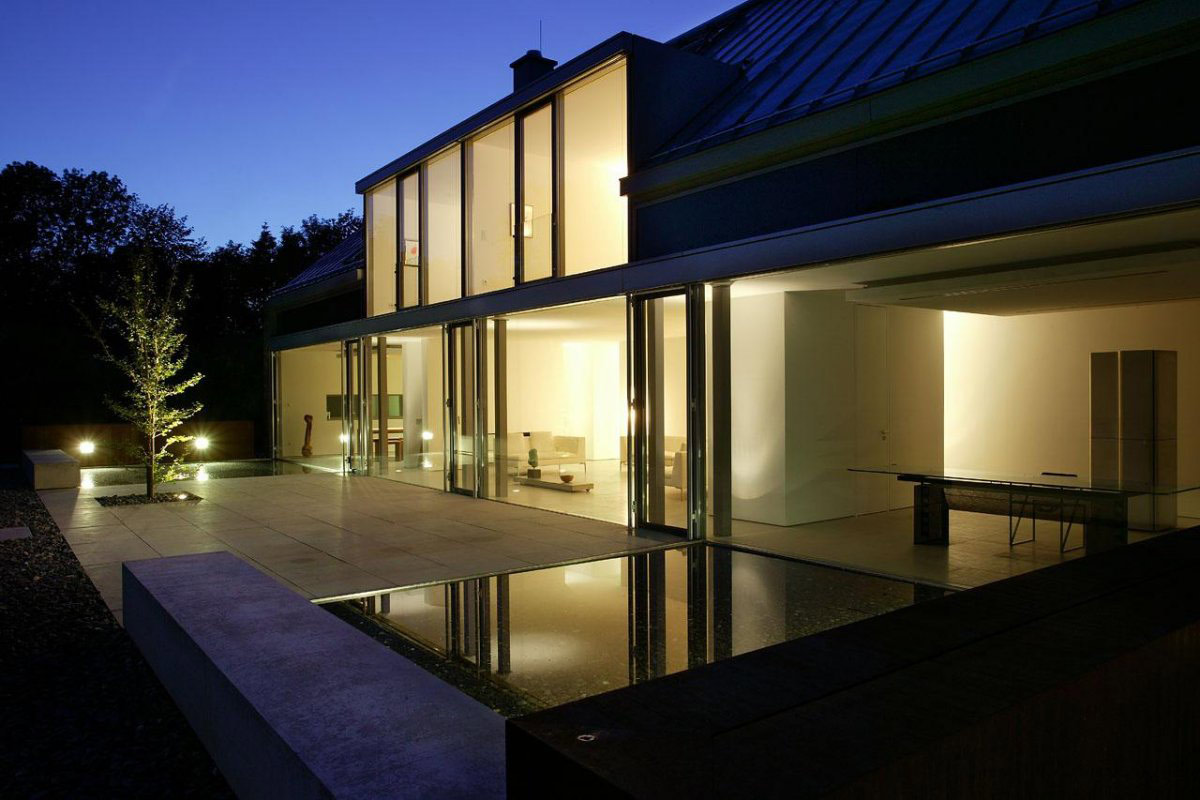 Lighting, Water Feature, Terrace, Möllmann Residence in Bielefeld, Germany