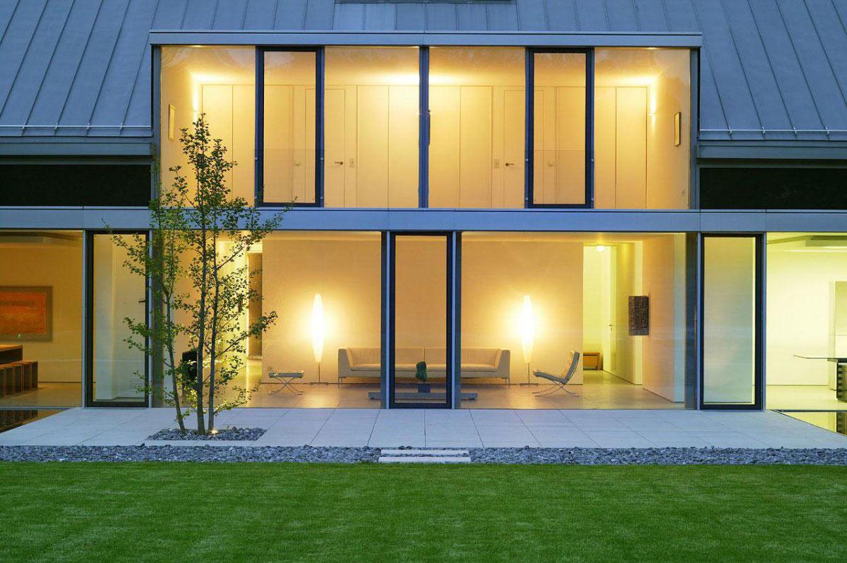 Living Space, Lighting, Glass Walls, Terrace, Möllmann Residence in Bielefeld, Germany