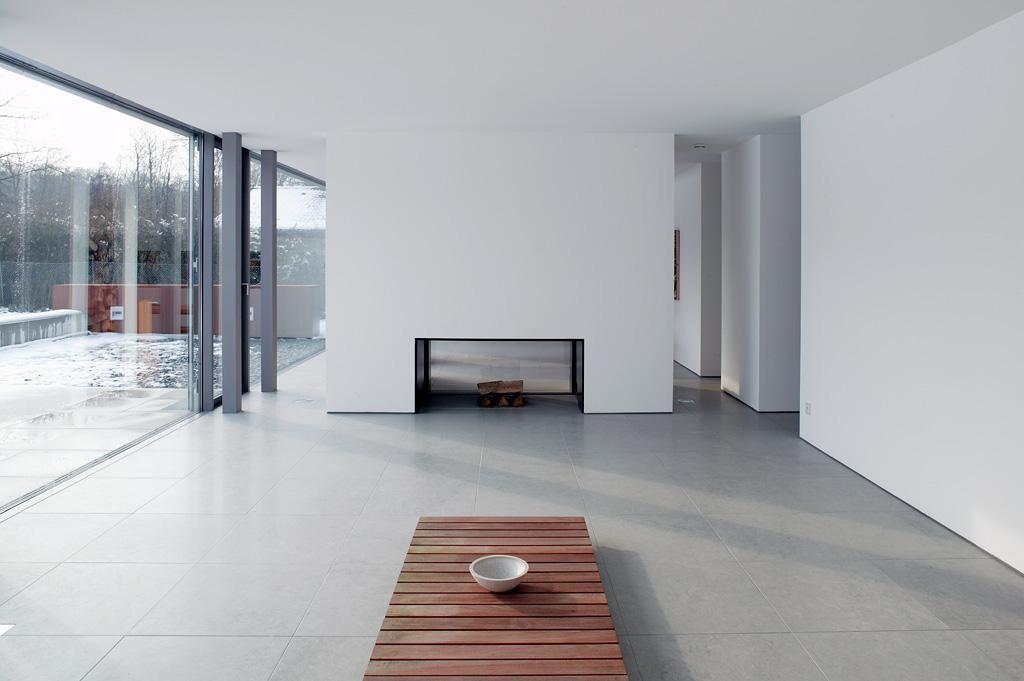 Open Plan Living, Contemporary Fireplace, Möllmann Residence in Bielefeld, Germany