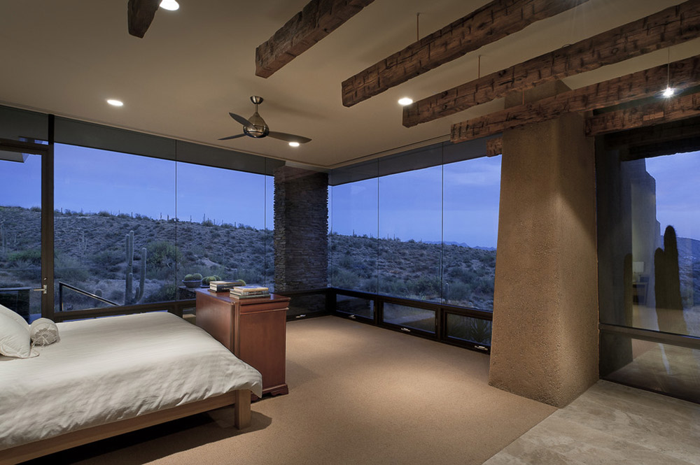 Bedroom, Glass Walls, Modern Home in Scottsdale, Arizona