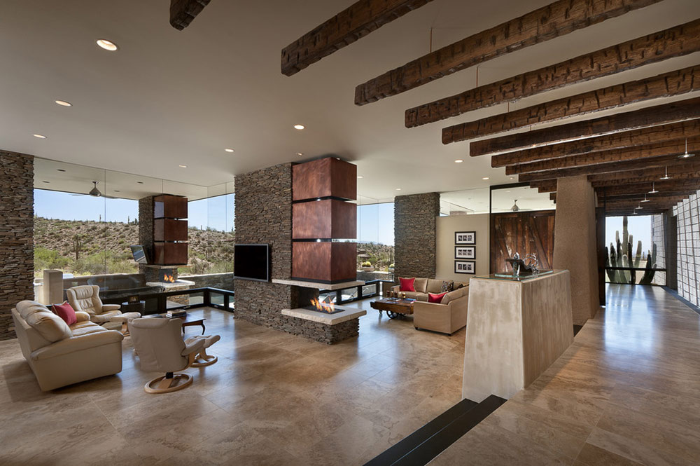 Modern home with mountain views in scottsdale arizona Modern living room with fireplace