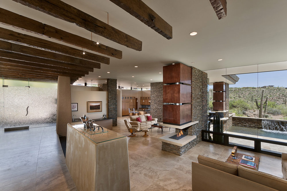 Open plan living glass walls modern home in scottsdale for Open plan modern house