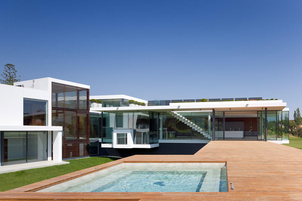 Deck, Jacuzzi, Modern Home with a Unique Suspended Pool in Portugal