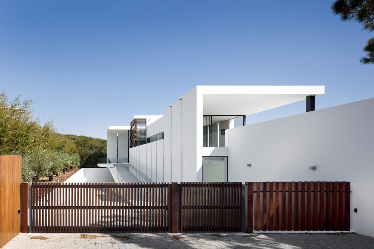 Entrance, Gates, Modern Home with a Unique Suspended Pool in Portugal