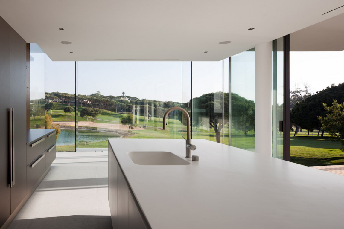 Kitchen Island, Modern Home with a Unique Suspended Pool in Portugal