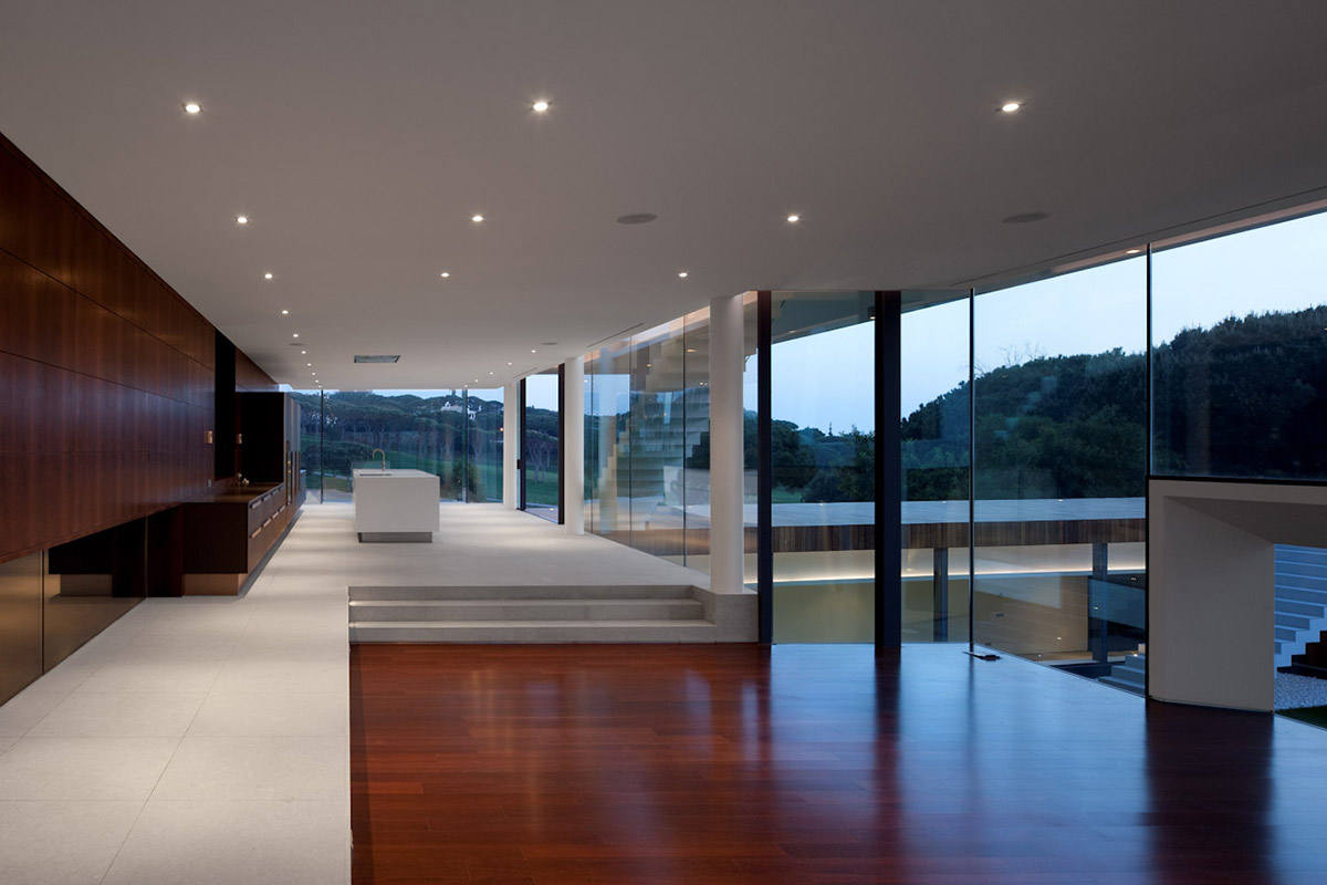 Kitchen, Living Space, Modern Home with a Unique Suspended Pool in Portugal