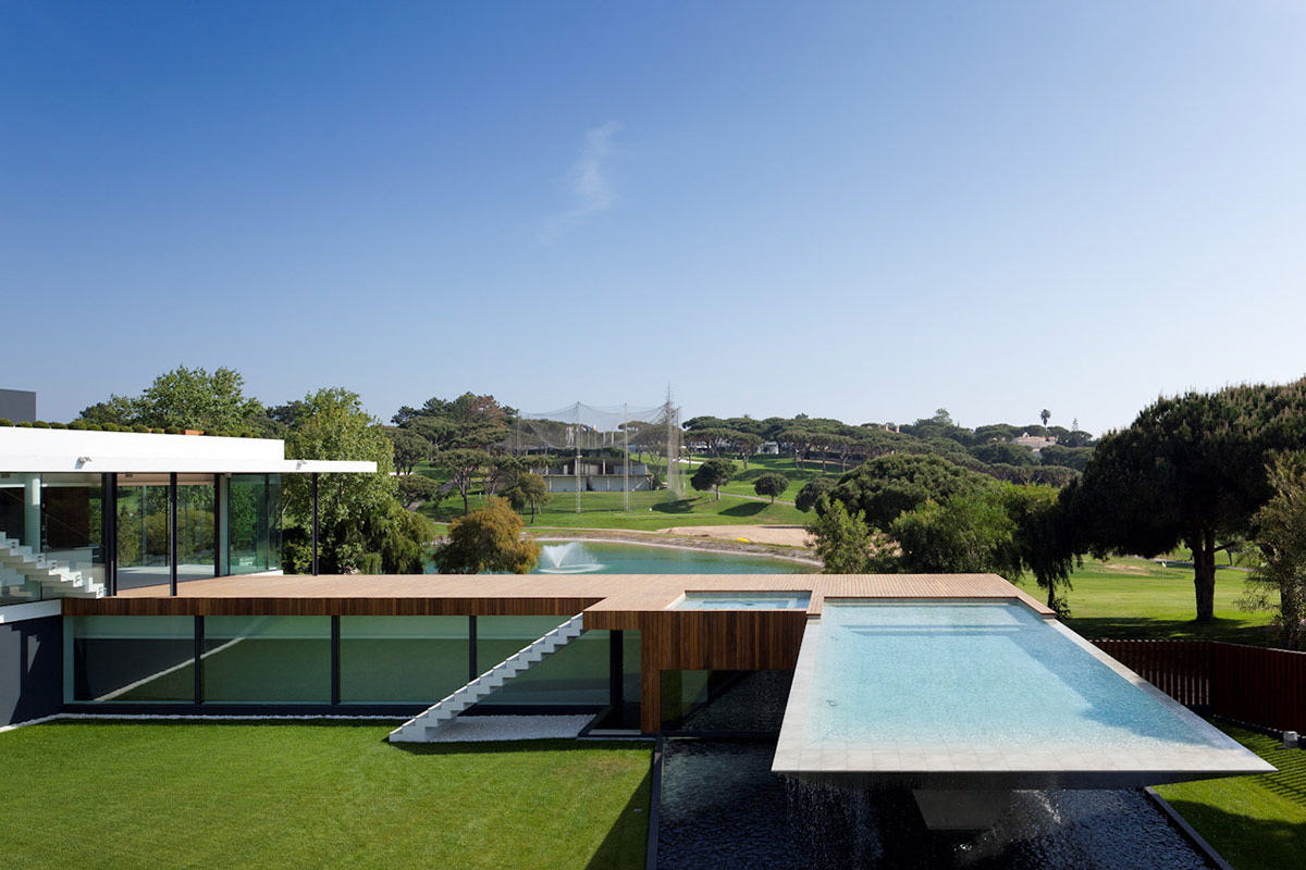 Pool, Golf Course Views, Modern Home with a Unique Suspended Pool in Portugal