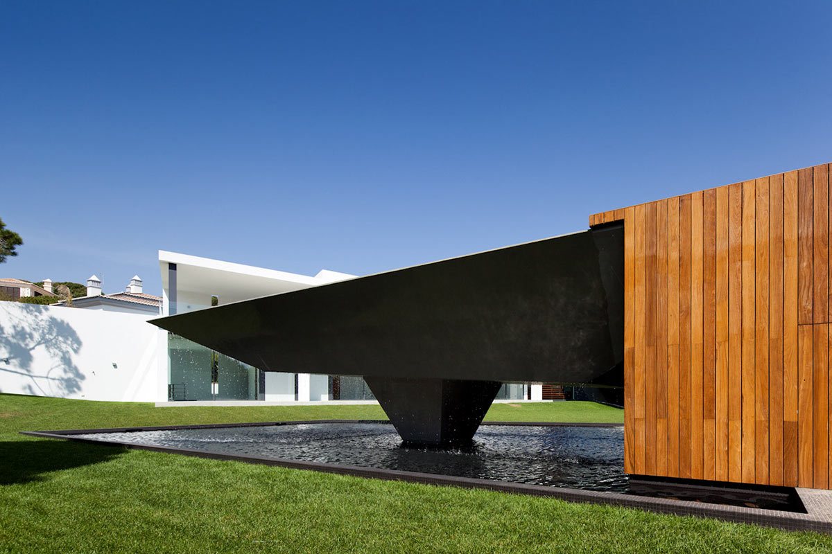 Pool, Waterfall, Modern Home with a Unique Suspended Pool in Portugal
