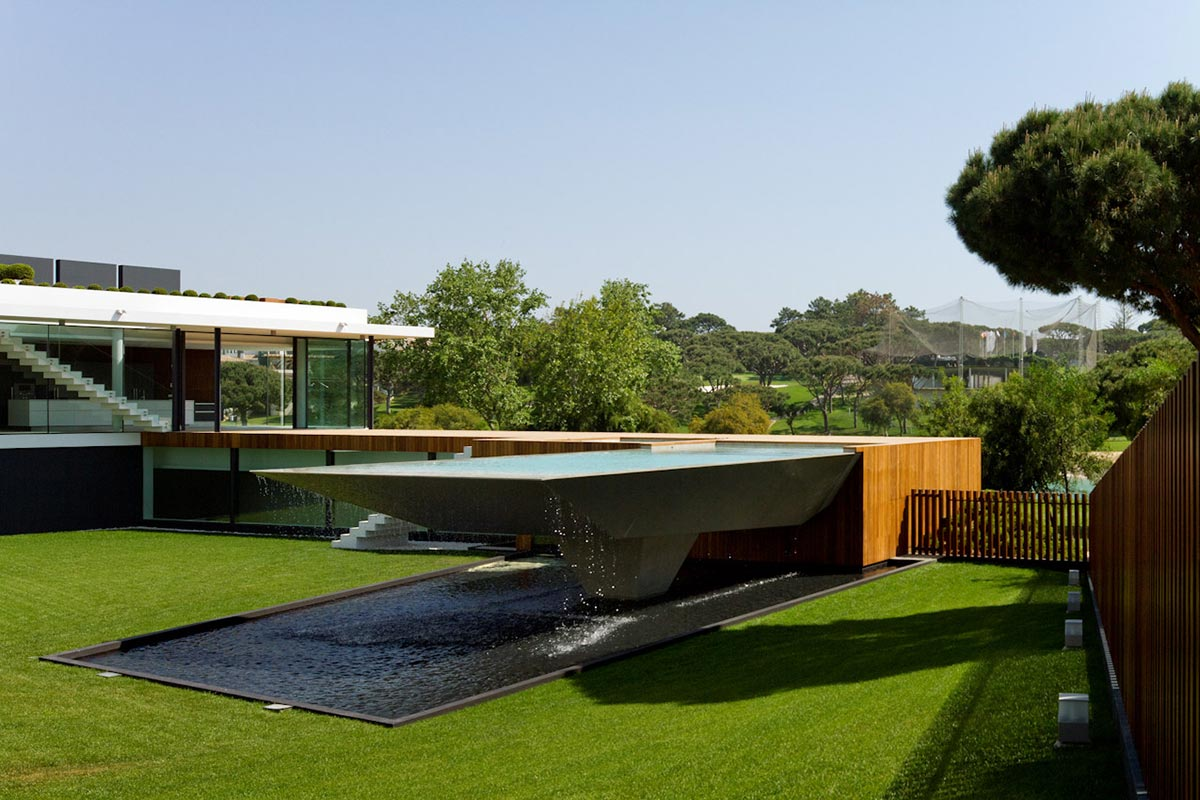 Pool, Modern Home with a Unique Suspended Pool in Portugal