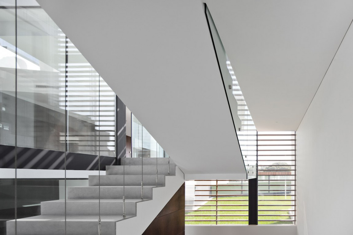 Stairs, Modern Home with a Unique Suspended Pool in Portugal