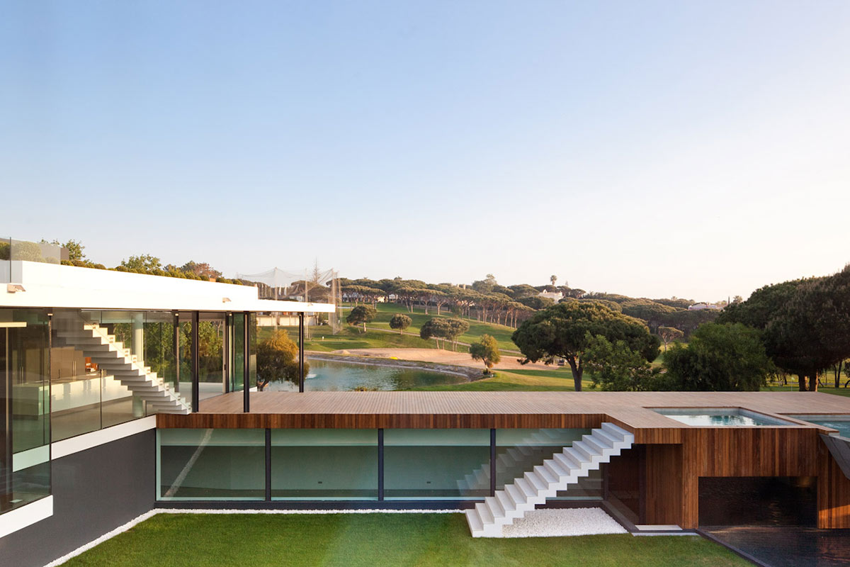 Terrace, Pool, Modern Home with a Unique Suspended Pool in Portugal