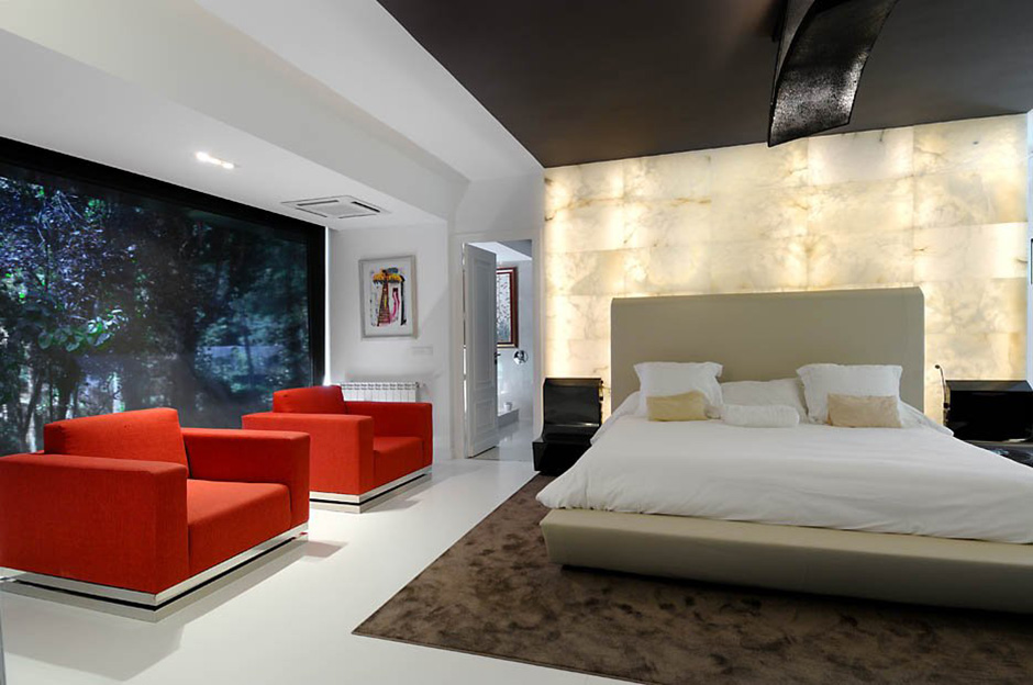 Bedroom, Marble Lighting, Modern Renovation in Madrid, Spain