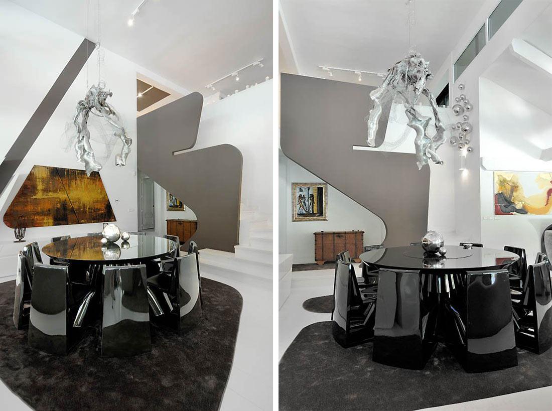 Dining Space, Rug, Modern Renovation in Madrid, Spain