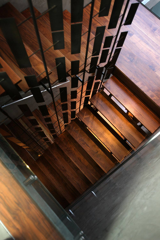 Dark Wood Stairs, Exquisite Ocean Front Residence in La Jolla, California