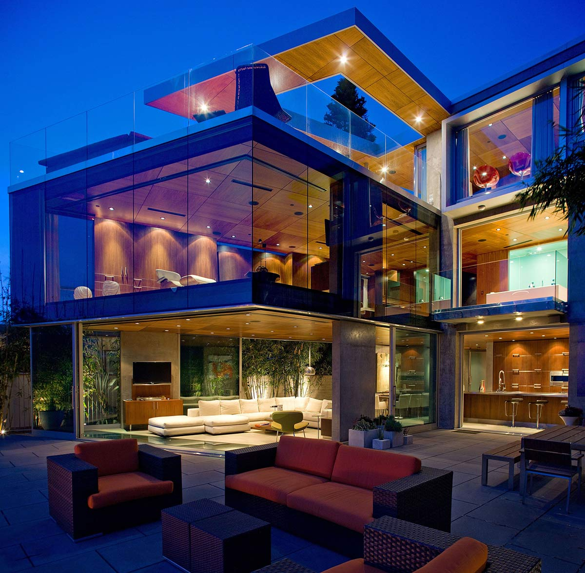Glass Walls, Lighting, Outdoor Living, Exquisite Ocean Front Residence in La Jolla, California