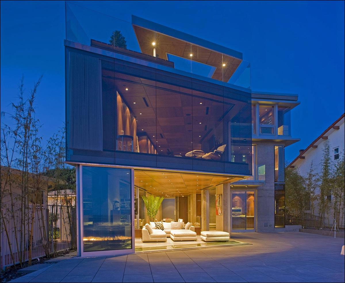 Lighting, Terrace, Living Room, Exquisite Ocean Front Residence in La Jolla, California