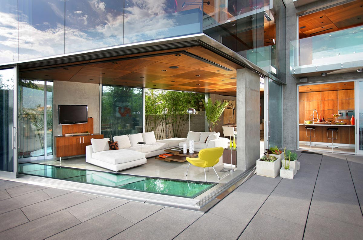 Living Space, White Sofas, Exquisite Ocean Front Residence in La Jolla, California