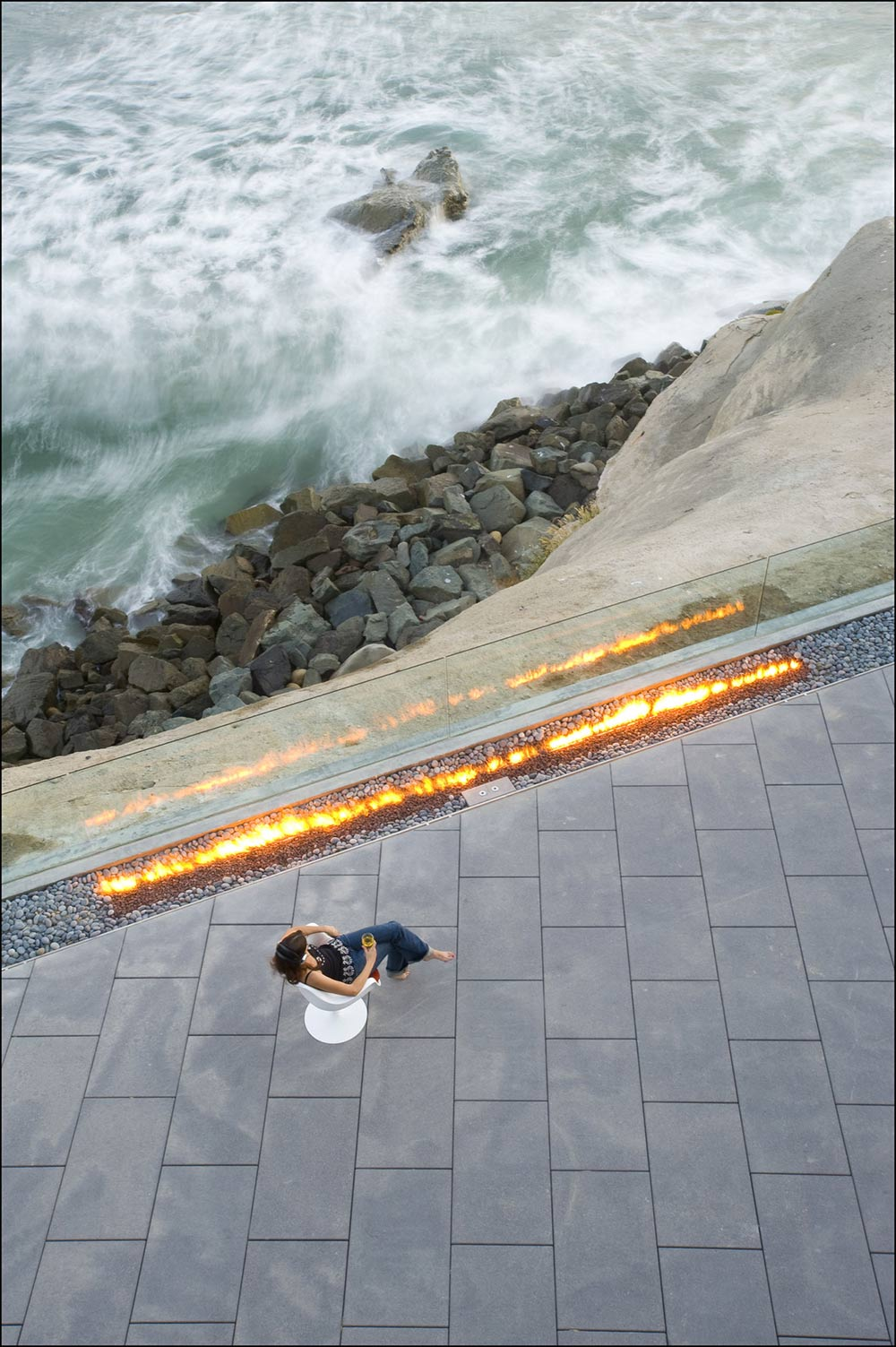 Outdoor Contemporary Fire, Glass Fence, Exquisite Ocean Front Residence in La Jolla, California