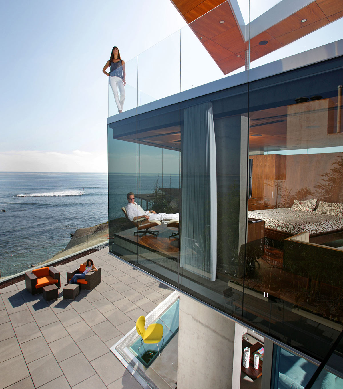 Terrace, Glass Walls, Bedroom, Exquisite Ocean Front Residence in La Jolla, California