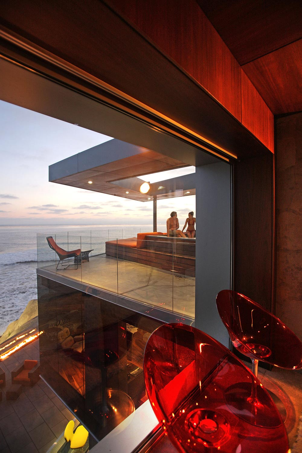Jacuzzi Red Seats, Exquisite Ocean Front Residence in La Jolla, California