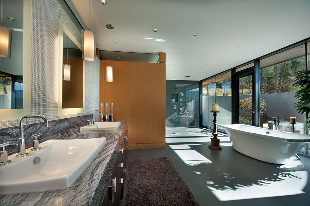 Bathroom, Glass Shower, Exceptional Hillside Home Overlooking Okanagan Lake, Canada