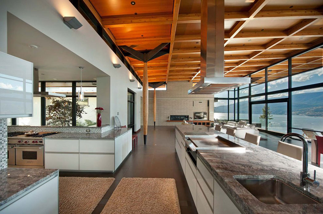 Kitchen, Large Island, Marble Counters, Exceptional Hillside Home Overlooking Okanagan Lake, Canada