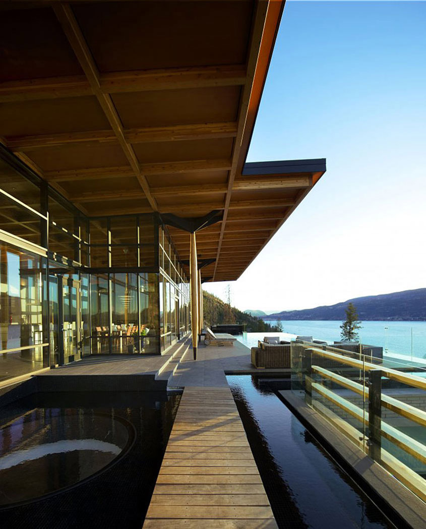 Water Feature, Terrace, Exceptional Hillside Home Overlooking Okanagan Lake, Canada