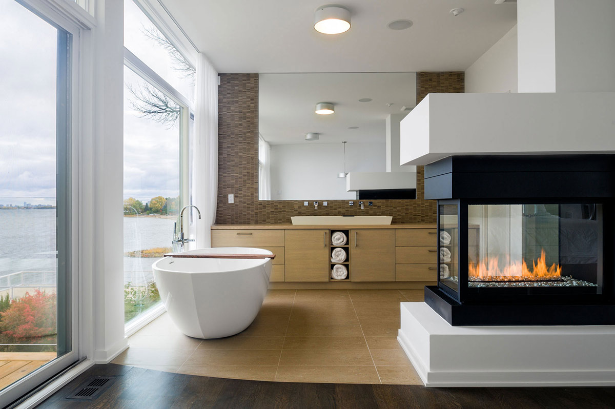 Bathroom fireplace riverside home in ottawa canada for Bathroom design ottawa