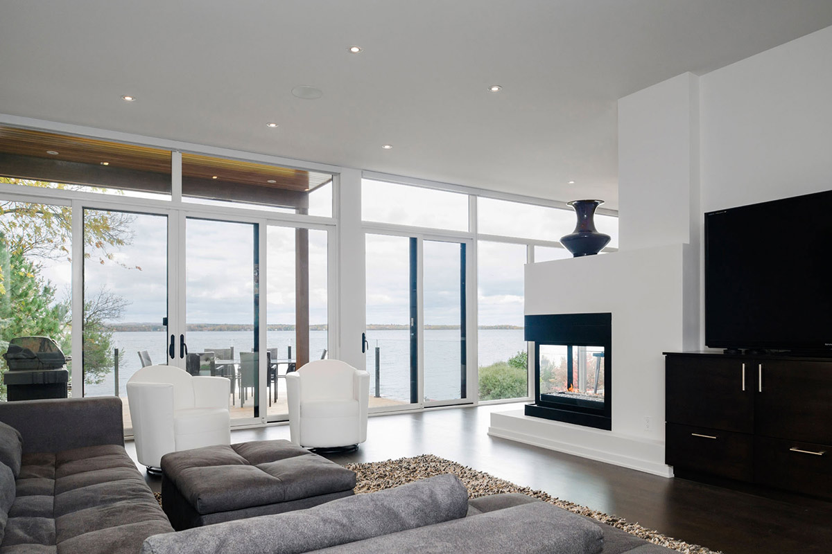 Living Room, Contemporary Fireplace, Riverside Home in Ottawa, Canada