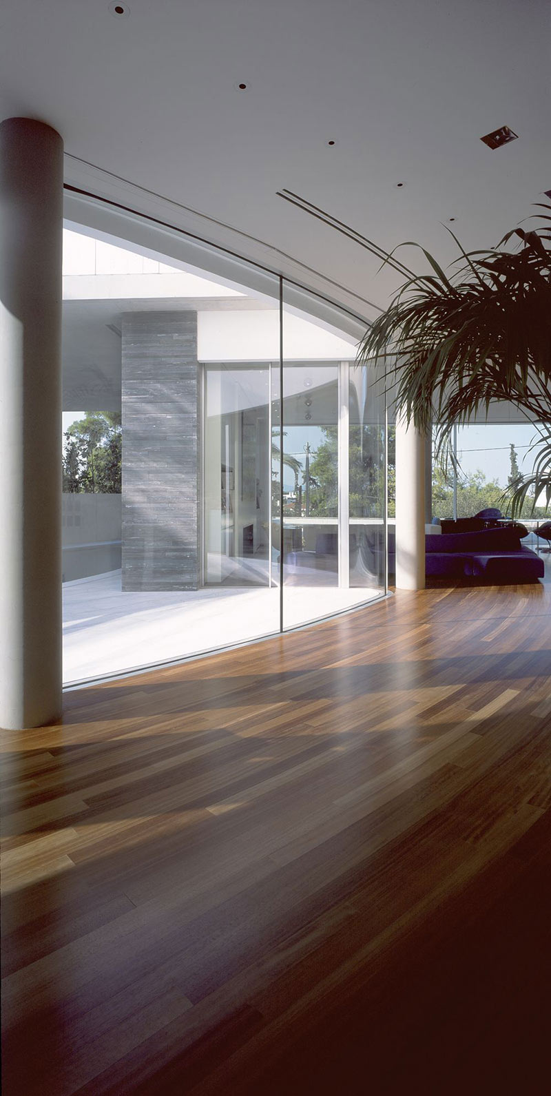 Curved Wood Flooring, Glass Walls, Psychiko House, Athens by Divercity Architects