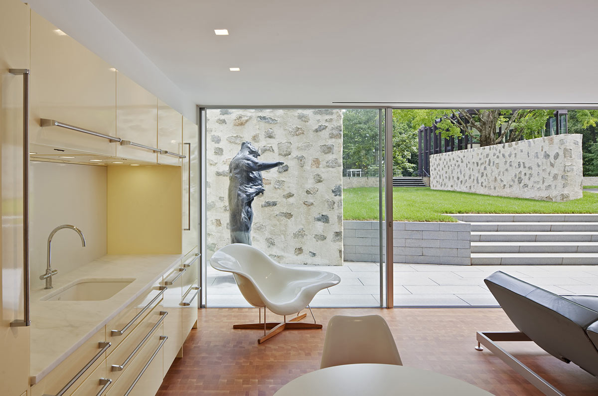 Kitchen, Living Space, Robert C. Wiley House Originally Designed by Philip Johnson