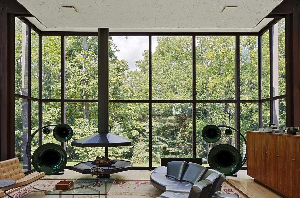 Living Space, Modern Fireplace, Black Sofas, Robert C. Wiley House Originally Designed by Philip Johnson