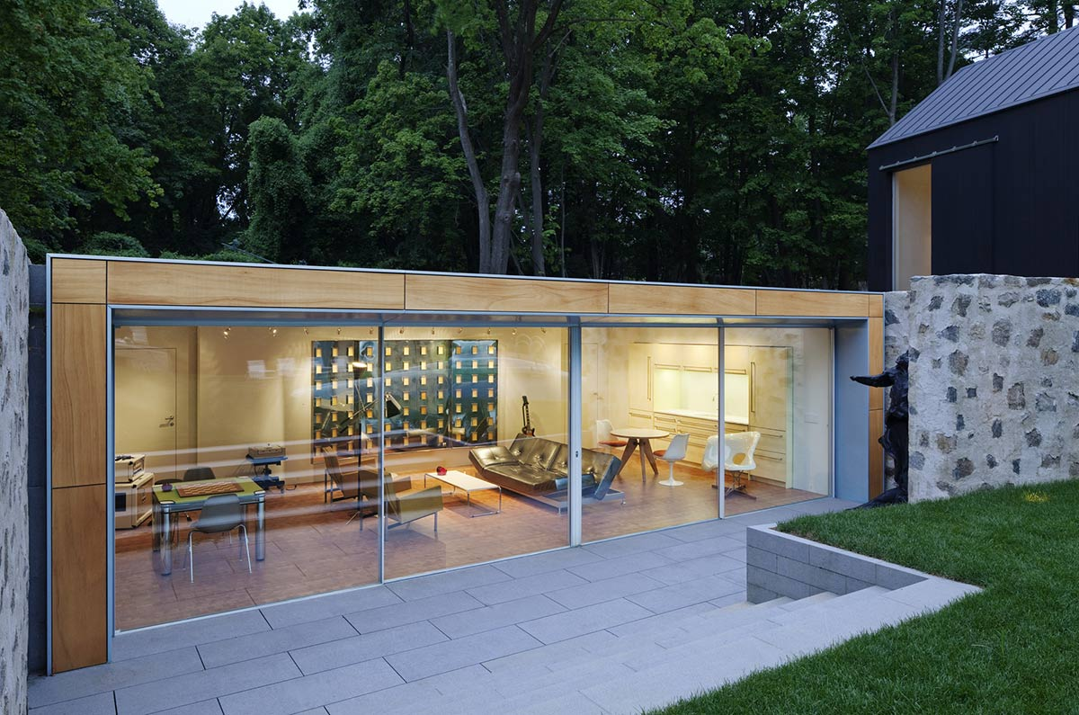 Terrace, Living Room, Glass Walls, Robert C. Wiley House Originally Designed by Philip Johnson