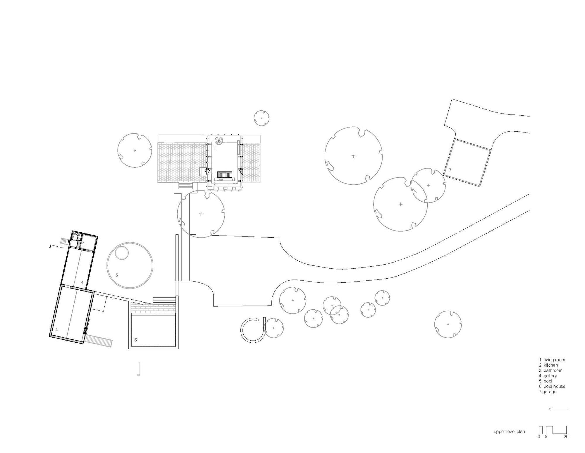 Upper Level PlanArt Gallery, Robert C. Wiley House Originally Designed by Philip Johnson