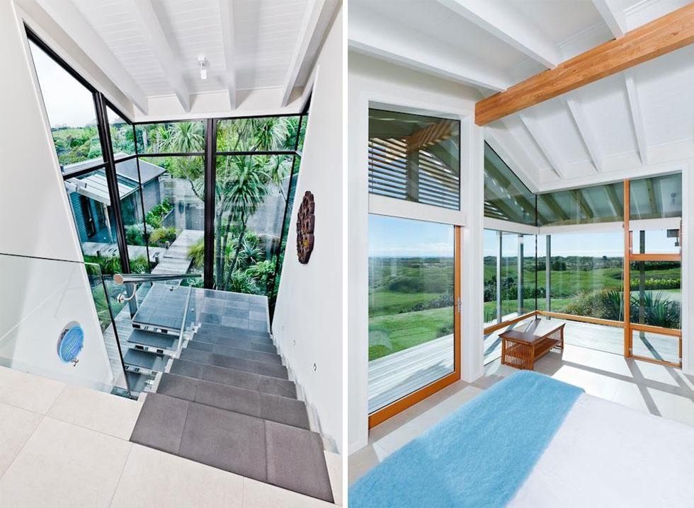 Bedroom, Glass Walls, Elegant Contemporary Home in Te Horo, New Zealand